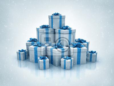 Fototapeta Stos niebieskie pudełka na prezenty wysokiej jakości 3d render