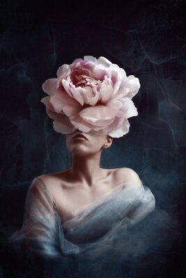 Fototapeta Strange fine art concept. The body of a woman, her head is a peony