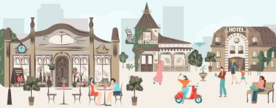 Fototapeta Streets, houses, buildings architecture of town with people rest in urban cafe, walk together, city scenes flat vector illustration. Old towns sights and landmarks, streets full of tourists.