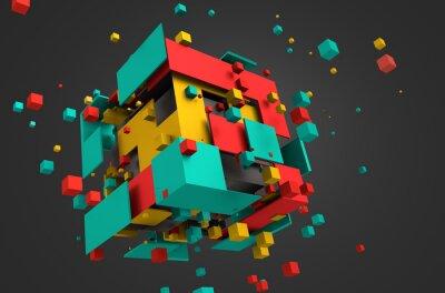 Fototapeta Streszczenie 3D Rendering latających Kostki.