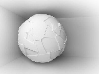 Fototapeta Streszczenie 3d tle z białym dużym latającej kuli