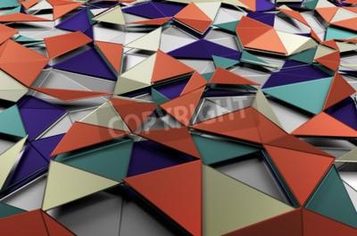 Fototapeta Streszczenie 3d utylizacyjnej z niskim poli kolorowe powierzchni. Tle z futurystycznym kształtach.