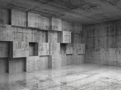 Fototapeta Streszczenie 3d wnętrza z betonu dekoracji na ścianie kostki
