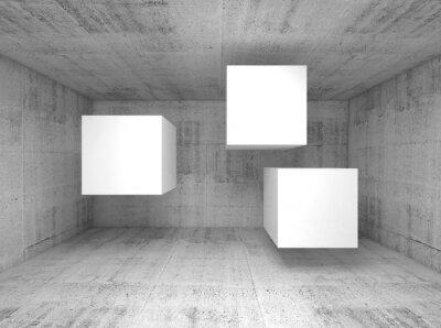 Fototapeta Streszczenie betonowe wnętrze, pływające kostki 3 d