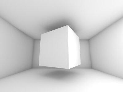 Fototapeta Streszczenie białe wnętrze pokoju, pływające kostki