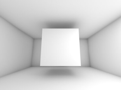 Fototapeta Streszczenie białe wnętrze pokoju z latającego sześcianu