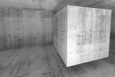 Fototapeta Streszczenie białego pokoju konkretnych 3d tle z kostki
