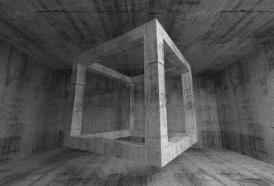 Fototapeta Streszczenie ciemnoszary betonu wnętrze pokoju. 3d pływające kostki