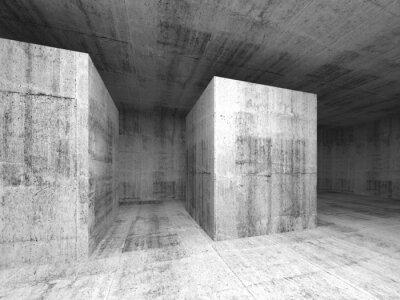 Fototapeta Streszczenie ciemnoszary pusty beton pokój, 3d wnętrze