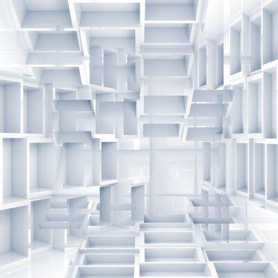 Fototapeta Streszczenie cyfrowych 3d tle chaotycznych białych sześcianów