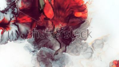 Fototapeta Streszczenie czerwone tło. Komórki makr. Czerwony kwiat. Farby akrylowe. Marmurowa tekstura. Sztuka współczesna.