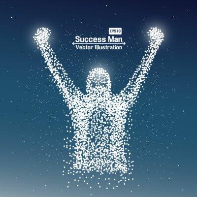 Fototapeta Streszczenie człowiekiem sukcesu z kropką