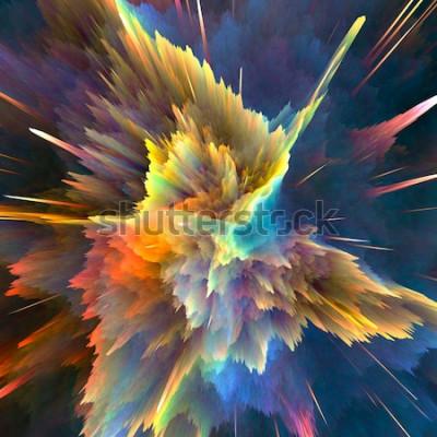 Fototapeta Streszczenie kolorowe tło wybuch. Zbliżenie, ilustracja w wysokiej rozdzielczości dla broszury, ulotki, projektów banerów i innych projektów. Efekt świetlny wybuchu. 3D renderowania ilustracji.