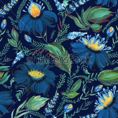 Fototapeta Streszczenie kwiatowy wzór w stylu ukraińskiego ludowego malarstwa Petrykivka. Ręcznie rysowane fantasy kwiaty, liście, gałęzie na ciemnym niebieskim tle indygo. Batik, wypełnienie strony, okładka alb