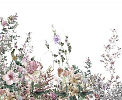 Fototapeta Streszczenie kwiaty akwarela. Wiosenne kwiaty wielokolorowe