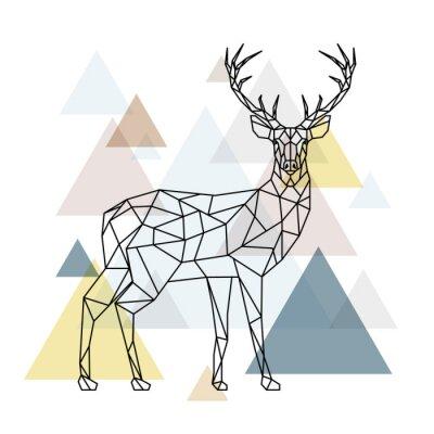 Fototapeta Streszczenie poligonal deer. Geometryczne hipster ilustracji. Renifer z widokiem z boku. Styl skandynawski.