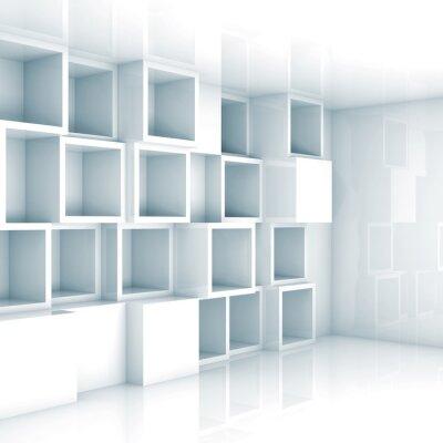Fototapeta Streszczenie pusty 3d wnętrze, białe puste półki na ścianie sześcianu