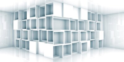 Fototapeta Streszczenie pusty 3d wnętrze pokoju z szafy w rogu