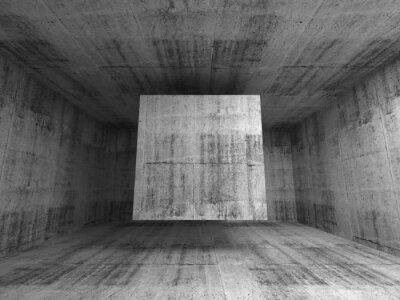 Fototapeta Streszczenie szare wnętrze pokoju. 3d tle z kostki latającego