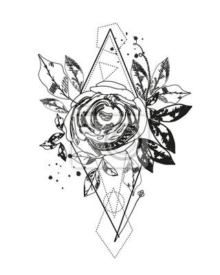 Fototapeta Streszczenie Tatuaż Sylwetka Róży Trójkąt Geometryczne Kształty