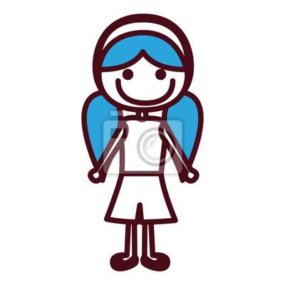 Strony Rysunku Sylweta Dziewczyna Z Niebieskim Pigtails Fryzura