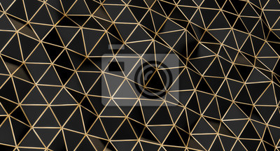structure with black triangular polygons with gold edges