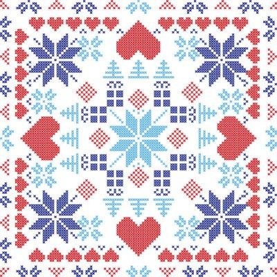 Fototapeta Styl skandynawski Nordic zima czerwony przełącznik, dziania szwu w kształcie kwadratu, w tym płatki śniegu, Boże Narodzenie prezenty, drzewa xmas, serca i elementy dekoracyjne w kolorze czerwonym i ni