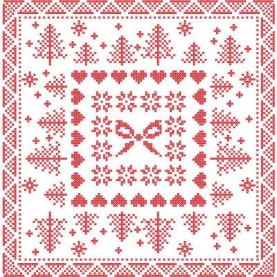 Fototapeta Styl skandynawski Nordic zimą ściegu, dziania szwu w kwadrat, kształt płytki w tym płatki śniegu, dziobu, choinka, Boże Narodzenie płatki śniegu, sercami, Elementy dekoracyjne w kolorze czerwonym