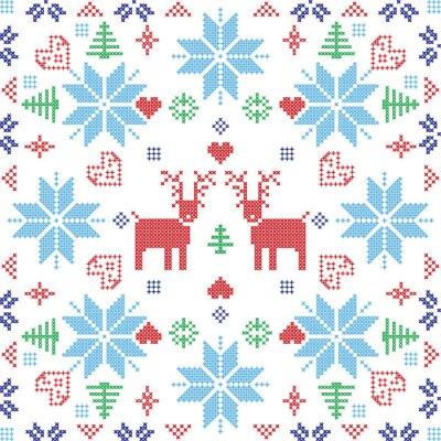 Fototapeta Styl skandynawski Nordic zimą Stich, dziania szwu w kształcie kwadratu, w tym płatki śniegu, drzew, Boże Narodzenie płatki śniegu, sercami, renifery i elementami dekoracyjnymi w kolorze czerwonym i ni