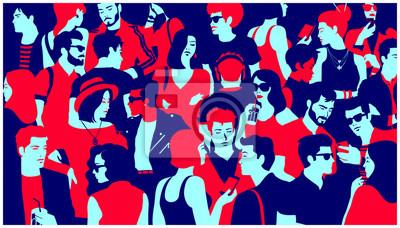 Fototapeta Stylizowana sylwetka tłumu ludzi, dorywczo mieszane grupy młodych dorosłych wychodzić, rozmowy lub picie zebrane dla wydarzenia życia nocnego, prosty minimalistyczny styl pop-art Płaska konstrukcja il