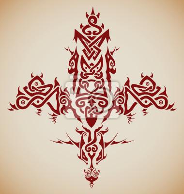 Stylizowane Tribal Krzyż Celtycki Inspirowane Tatuaże Fototapeta