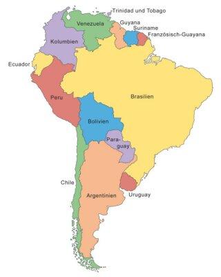 Fototapeta Südamerika Karte w Farbe (mit Beschriftung)