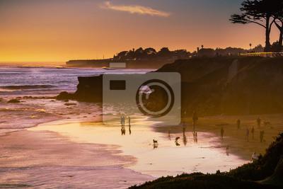 Fototapeta Sunset on the Pacific Ocean coastline, Santa Cruz, California
