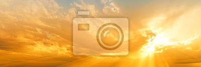 Fototapeta sunset sky panorama landscape background natural color of evening landscape with setting sun light coming through clouds panoramic view