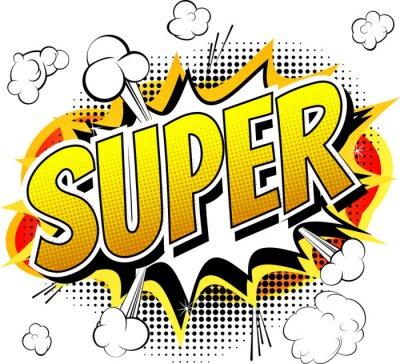 Fototapeta Super - Komiks słowo styl książki samodzielnie na białym tle.