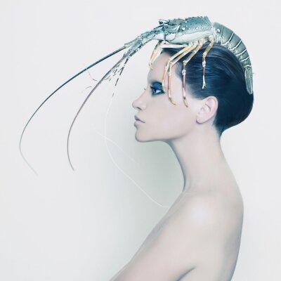 Fototapeta Surreal pani z homara na głowie