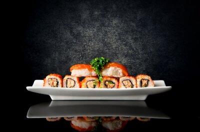 Fototapeta Sushi i rolki w płytkę