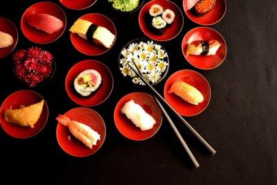 Fototapeta Sushi z chryzantemami