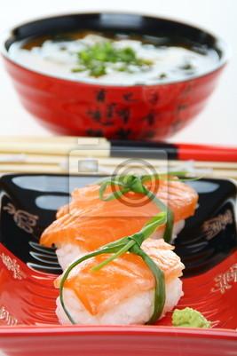Fototapeta Sushi z łososia z bliska.