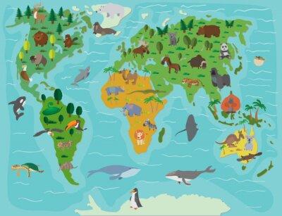 Fototapeta świata zwierzęcego. Śmieszne kreskówki mapie
