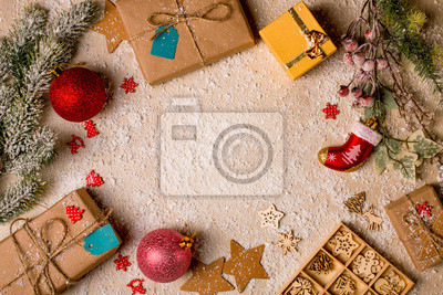 Fototapeta świąteczne Dekoracje W Tle Sosny I Holly Gałęzie Ręcznie Robione