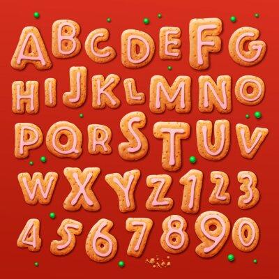 Fototapeta Świąteczne pierniki alfabetu i liczb