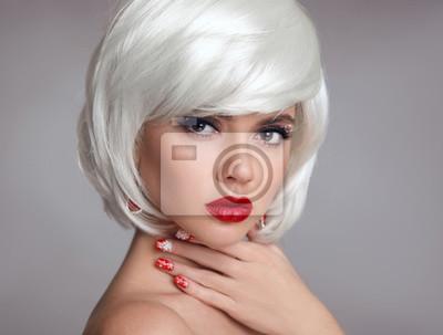 świąteczny Makijaż Czerwone Usta Makijaż Piękny Blondynki