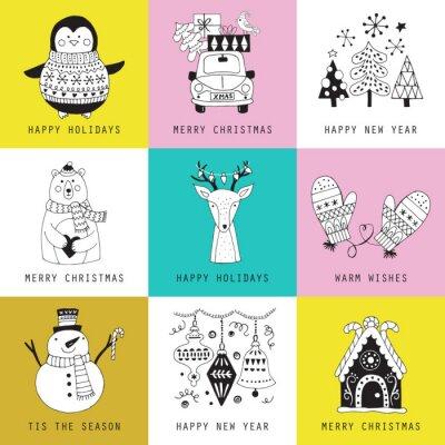 święta Bożego Narodzenia Kartkę Z życzeniami Zestaw ładny Rysunek