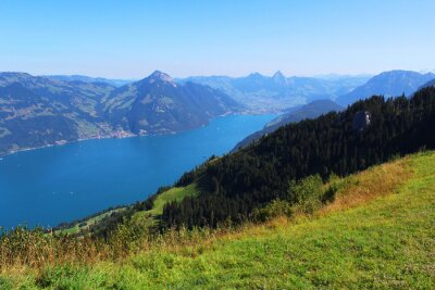 Fototapeta  Switzerland, mountain and lake