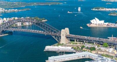 Fototapeta Sydney Harbour. Oszałamiający widok z lotu ptaka na słoneczny dzień