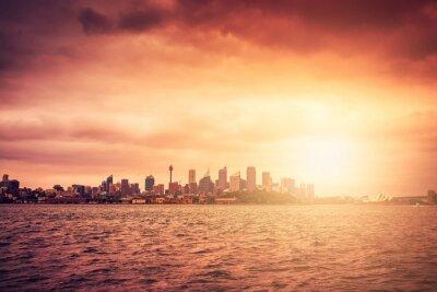 Fototapeta Sydney skyline o zachodzie słońca
