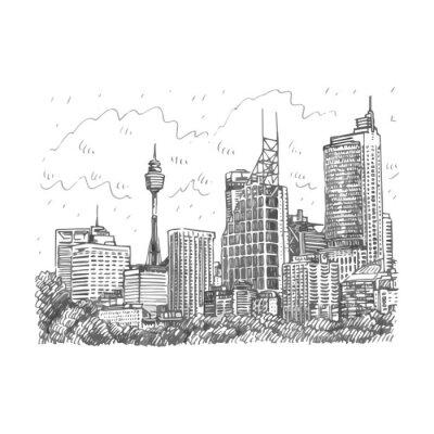 Fototapeta Sydney Wieża i drapacze chmur Widok z Sydney, Australia. Wektor odręczny szkic ołówkiem.