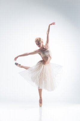 Fototapeta Sylwetka baleriny na białym tle