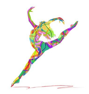 Fototapeta sylwetka di baletnicy composta da Colori